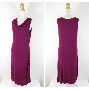 Athleta Deep Magenta Ruched Cowl Midi Sheath Dress
